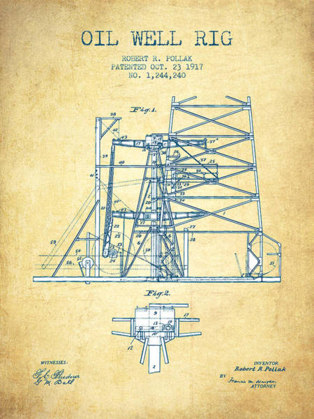 Pump Jack Wall Art - Drawing - Oil Well Rig Patent From 1917- Vintage Paper by Aged Pixel
