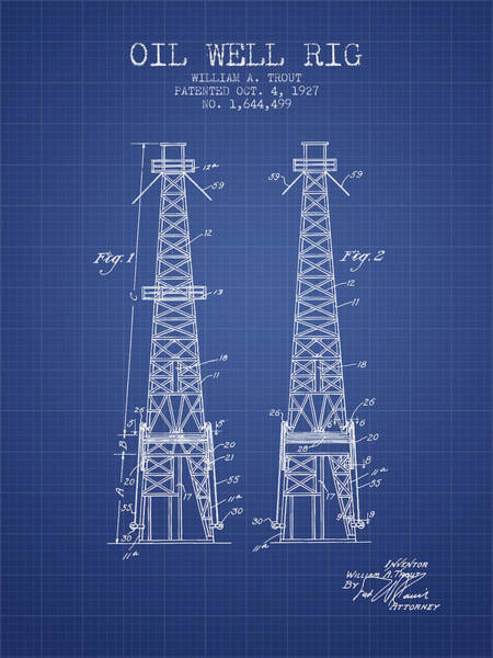 Drilling Rig Wall Art - Digital Art - Oil Well Rig Patent From 1927 - Blueprint by Aged Pixel