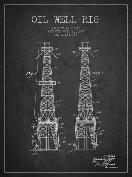 Drilling Rig Wall Art - Digital Art - Oil Well Rig Patent From 1927 - Dark by Aged Pixel