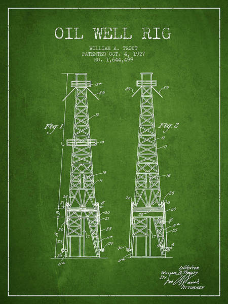 Pump Jack Wall Art - Digital Art - Oil Well Rig Patent From 1927 - Green by Aged Pixel