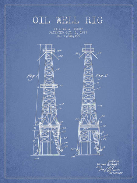 Pump Jack Wall Art - Digital Art - Oil Well Rig Patent From 1927 - Light Blue by Aged Pixel