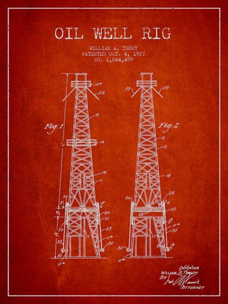 Drilling Rig Wall Art - Digital Art - Oil Well Rig Patent From 1927 - Red by Aged Pixel