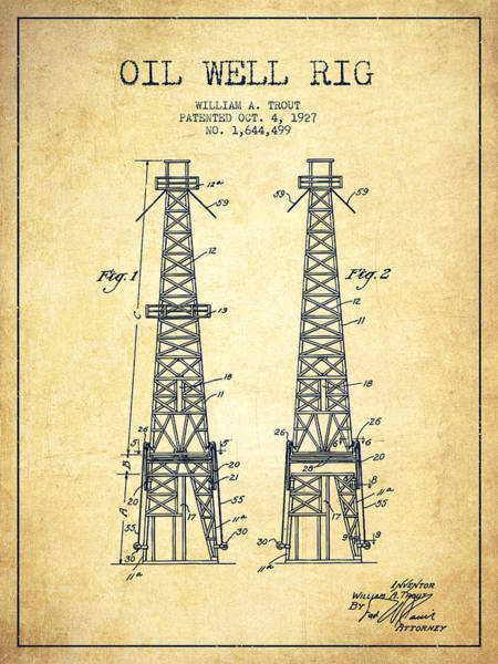 Drilling Wall Art - Digital Art - Oil Well Rig Patent From 1927 - Vintage by Aged Pixel