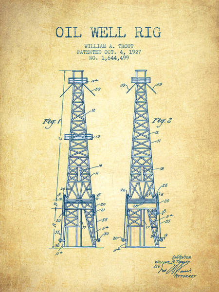 Pump Jack Wall Art - Drawing - Oil Well Rig Patent From 1927 - Vintage Paper by Aged Pixel