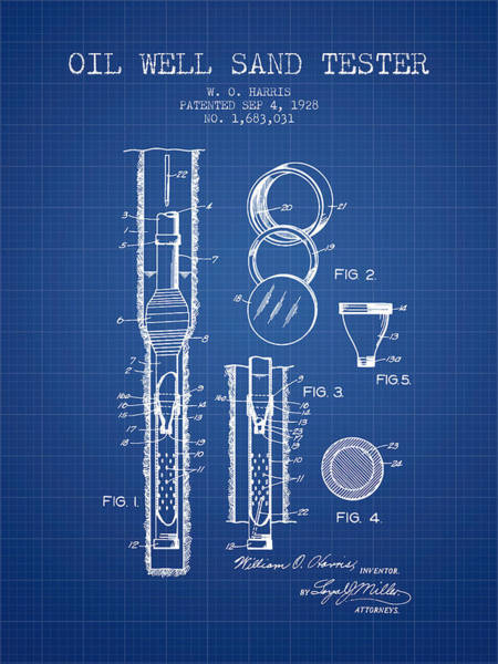 Drilling Wall Art - Digital Art - Oil Well Sand Tester Patent From 1928 - Blueprint by Aged Pixel