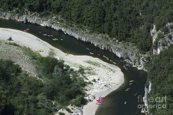 Rhone River Photograph - oing down Ardeche River on canoe. Ardeche. France by Bernard Jaubert