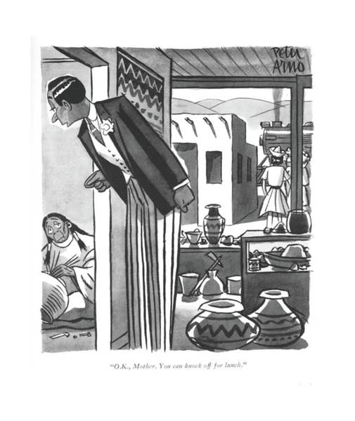 Drawing - O.k., Mother. You Can Knock Off For Lunch by Peter Arno