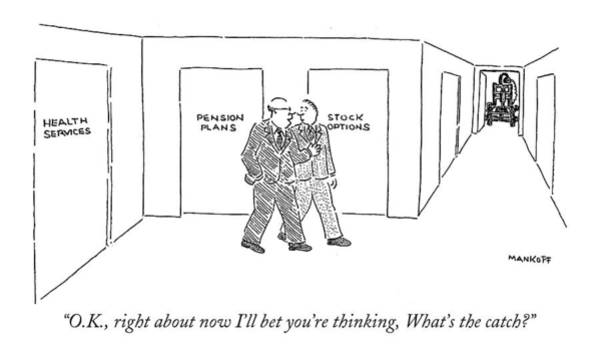 Options Drawing - O.k., Right About Now I'll Bet You're Thinking by Robert Mankoff