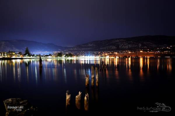 Okanagan Lake At Night Art Print