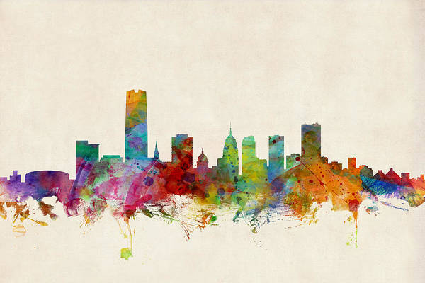 Watercolours Wall Art - Digital Art - Oklahoma City Skyline by Michael Tompsett