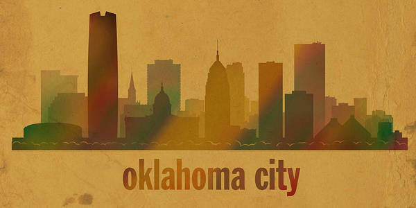 Ok Wall Art - Mixed Media - Oklahoma City Skyline Watercolor On Parchment by Design Turnpike