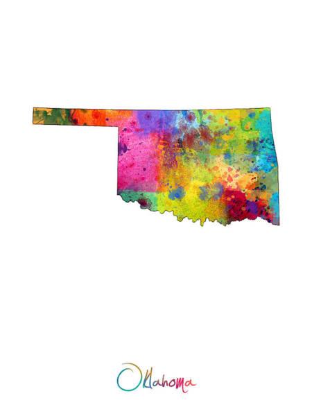 Oklahoma Wall Art - Digital Art - Oklahoma Map by Michael Tompsett