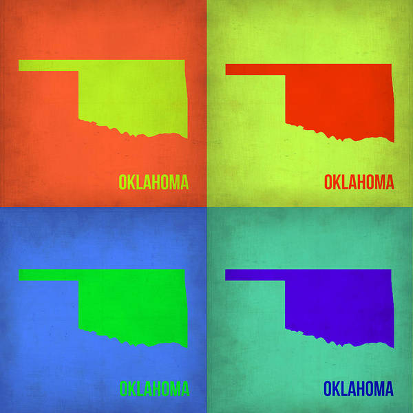 Wall Art - Painting - Oklahoma Pop Art Map 1 by Naxart Studio