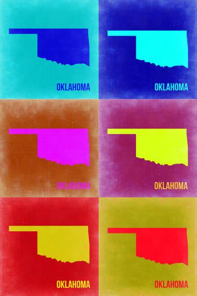 Oklahoma Wall Art - Painting - Oklahoma Pop Art Map 2 by Naxart Studio