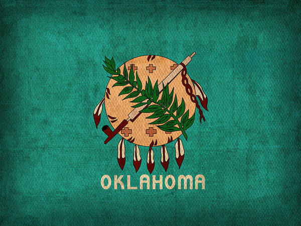 Wall Art - Mixed Media - Oklahoma State Flag Art On Worn Canvas by Design Turnpike