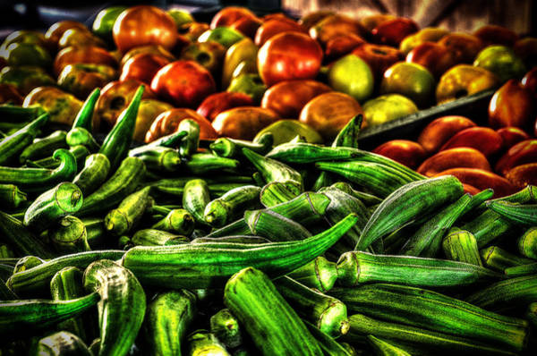 Okra And Tomatoes Art Print
