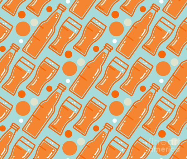 Bar Wall Art - Digital Art - Oktoberfest Seamless Pattern. Beer by Barsrsind