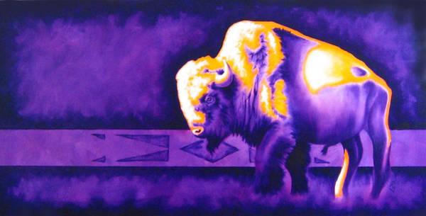 Native American Blanket Painting - Ol' Bull by Robert Martinez