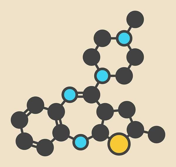 Psychiatry Photograph - Olanzapine Antipsychotic Drug Molecule by Molekuul