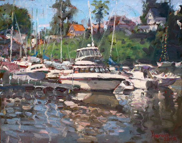 Lake House Painting - Olcott Yacht Club by Ylli Haruni