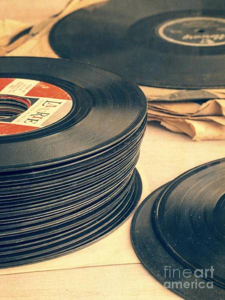 Vintage Photograph - Old 45s by Edward Fielding