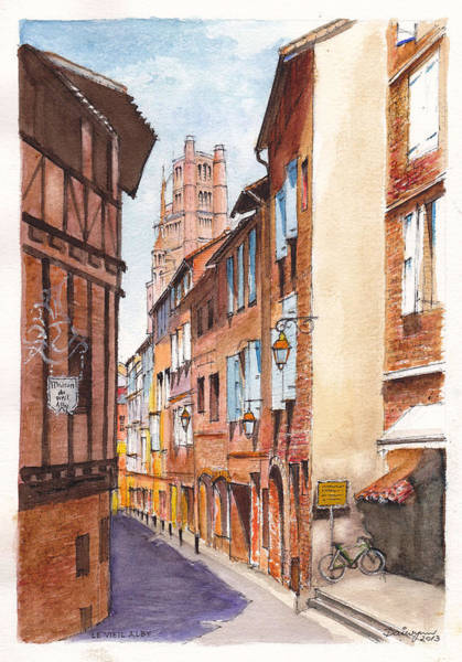Half Timbered Painting - Old Albi The Pink City Of South West France by Dai Wynn