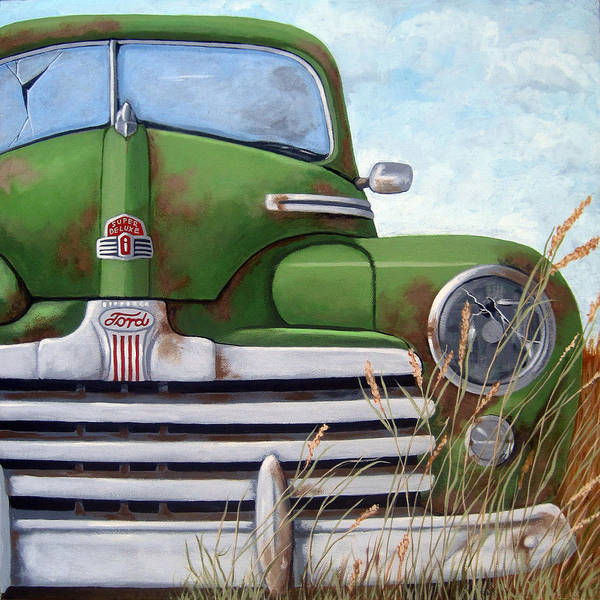 Wall Art - Painting - Old And Rusty Vintage Ford Realism Auto Scene by Linda Apple