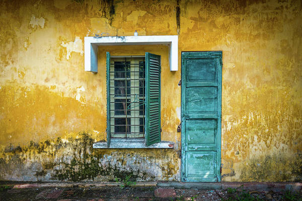 Stucco Wall Art - Photograph - Old And Worn House On Street In Vietnam by Kyolshin