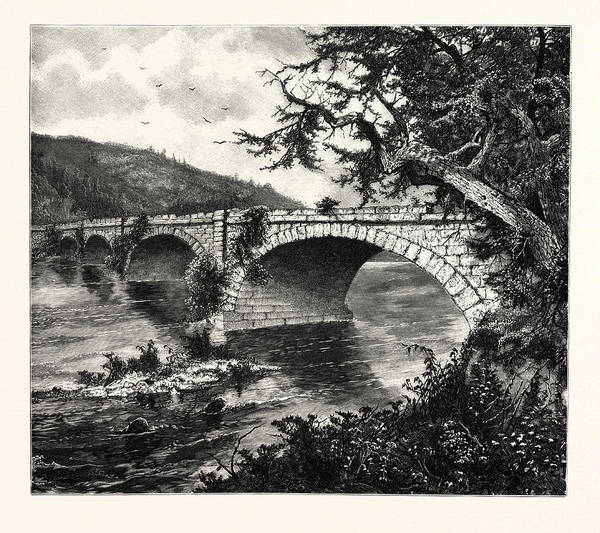 Old Style Drawing - Old Aqueduct On The Conemaugh. The Conemaugh River by John Augustus Hows (1832-1874), American