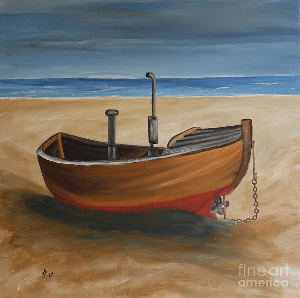 Baltic Sea Painting - Old Baltic Sea Fishing Boat by Christiane Schulze Art And Photography