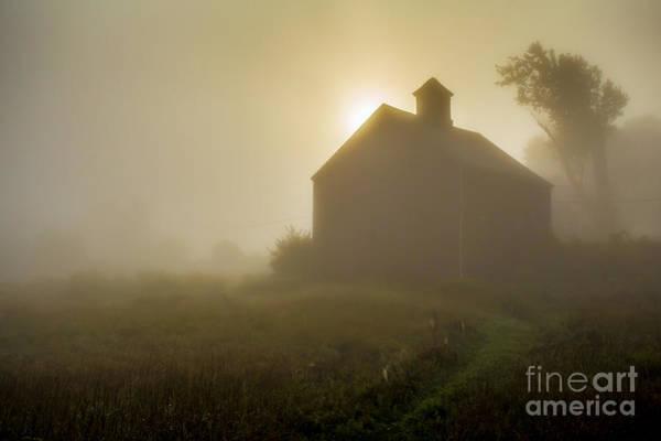 New England Barn Photograph - Old Barn Foggy Morning by Edward Fielding