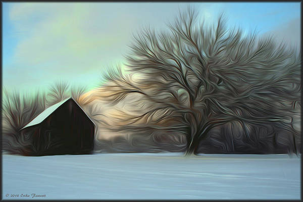 Old Barn In Snow Art Print