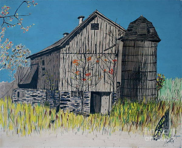 Farm Landscape Mixed Media - Old Barn by Linda Simon