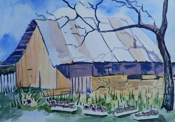 Elwood Blues Painting - Old Barn Near Strawberry Arizona by Jann Elwood