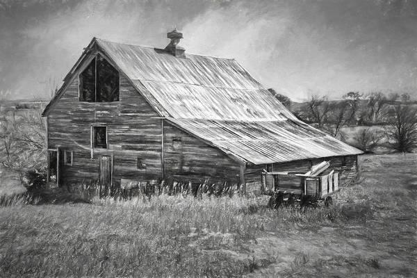 Lean-tos Photograph - Old Nebraska Barn - Wagon by Nikolyn McDonald