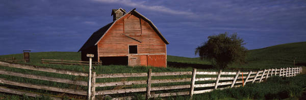 Peacefulness Photograph - Old Barn With A Fence In A Field by Panoramic Images