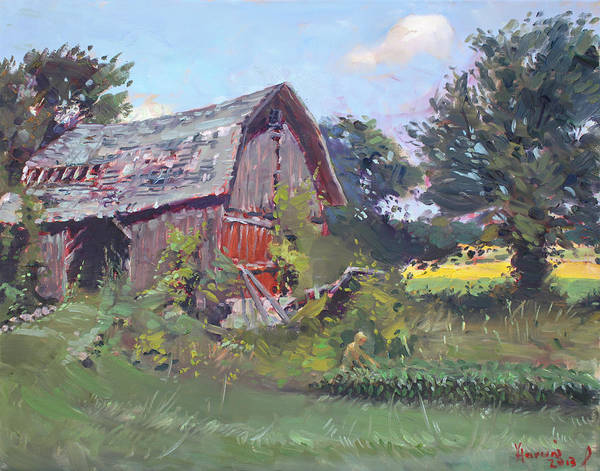 Old Barns Wall Art - Painting - Old Barns  by Ylli Haruni