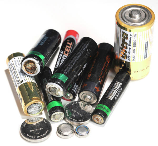 Watch Out Wall Art - Photograph - Old Batteries by Public Health England