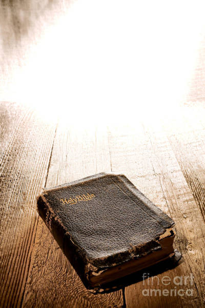 Protestant Photograph - Old Bible In Divine Light by Olivier Le Queinec