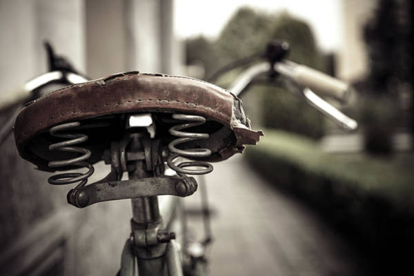 Bicycle Photograph - Old Bicycle, Detail Of Saddle by Paolomartinezphotography