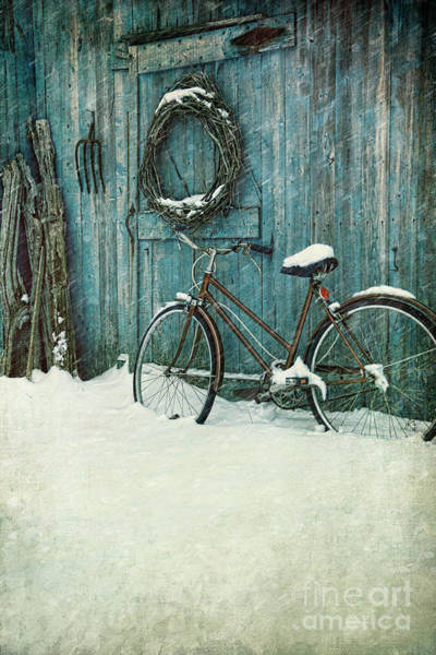 Wall Art - Photograph - Old Bicycle Leaning Against Barn by Sandra Cunningham