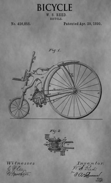 Mixed Media - Old Bicycle Patent by Dan Sproul