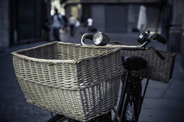 Bicycle Photograph - Old Bicycle With Wicker Basket by Paolomartinezphotography