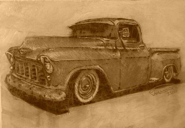 Custom Truck Painting - Old Blue 2 by Johan Van Staden