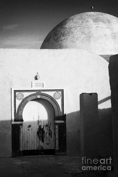 Hammamet Photograph - Old Blue And White Painted Doors Entrance To White Domed Islamic House In Traditional Ornate Style by Joe Fox