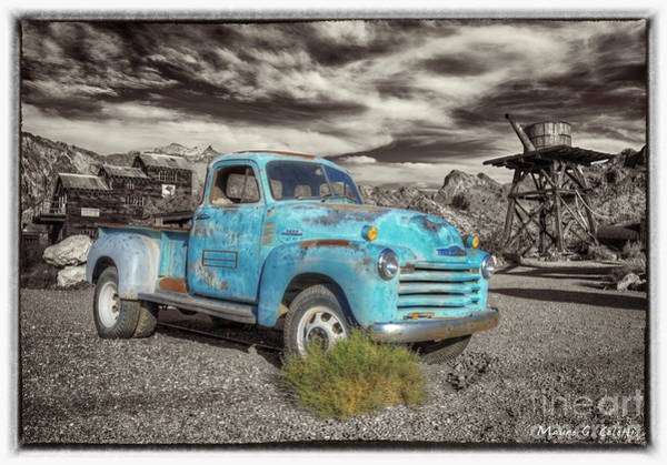 Pyrography - Old Blue Truck by Mauro Celotti
