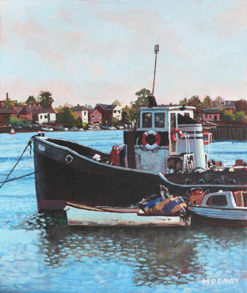Wall Art - Painting - Old Boats Moored At St Denys Southampton by Martin Davey