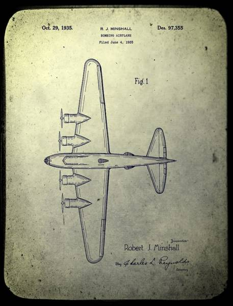 Wall Art - Mixed Media - Old Bombing Aircraft Patent by Dan Sproul