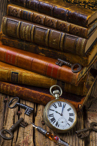 Skeleton Key Photograph - Old Books And Pocketwatch by Garry Gay