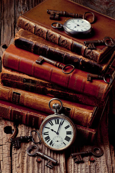 Skeleton Key Photograph - Old Books And Watches by Garry Gay